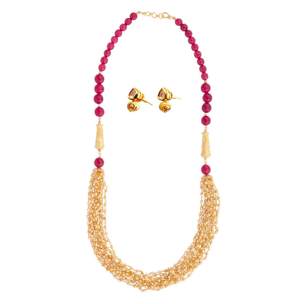 Multi Strand Cloister Red Necklace Set