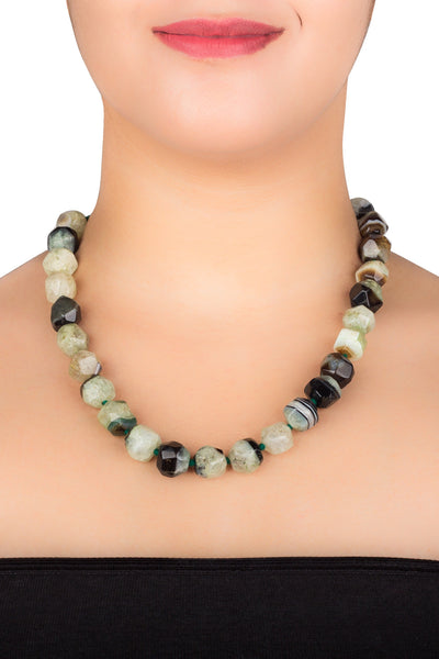 Tumbled Nugget Green Agate Necklace
