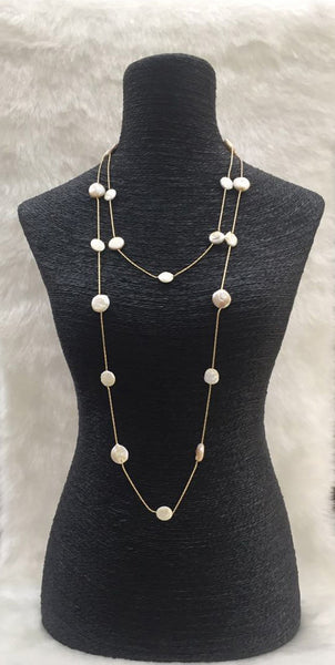White Lustrous Freshwater Button Pearl Necklace