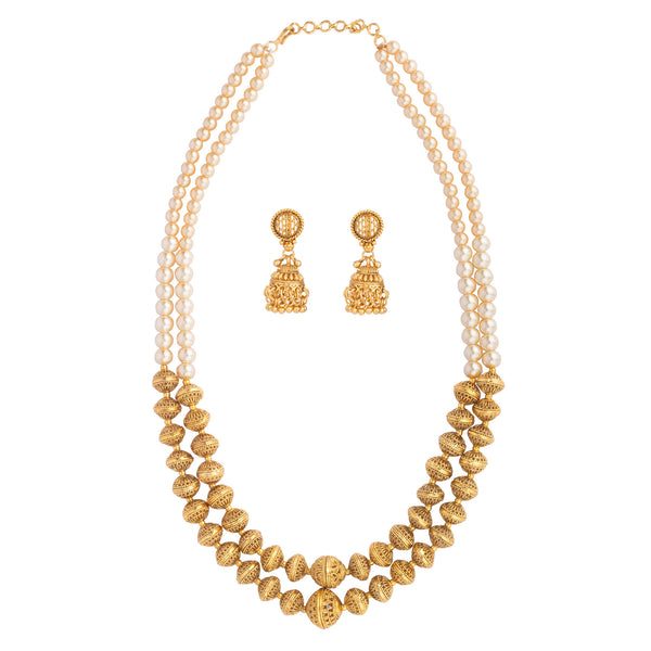 Double String Gold Bead Necklace Set