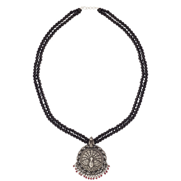 Black Silver Peacock Necklace