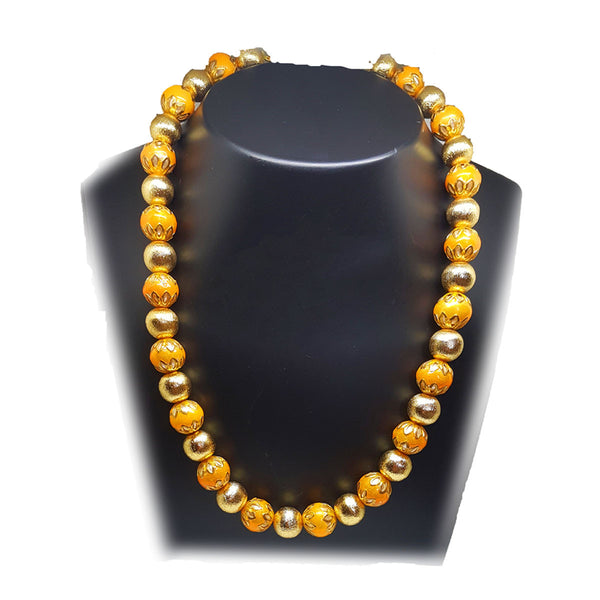 Festive Orange Enamel Necklace