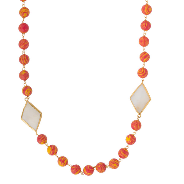 Exotic Beads with Mother of Pearl Necklace