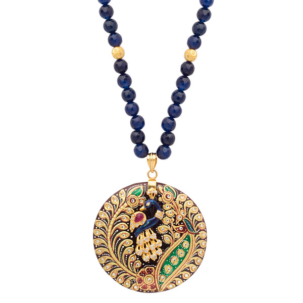 Regal Blue Peacock Necklace