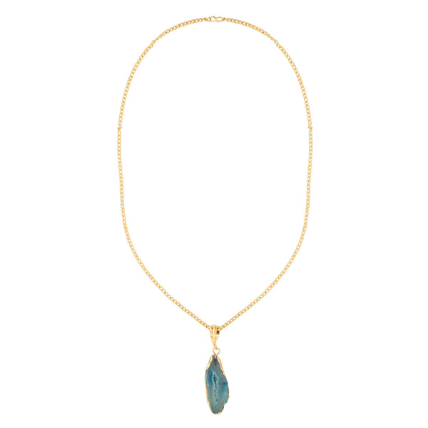 Teal Blue Agate Stone Chain Pendant Necklace