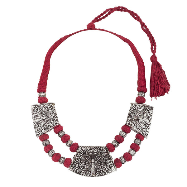 Ethnic Red and Silver thread Necklace