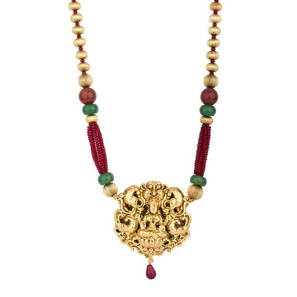 Golden Red and Green Goddess Necklace