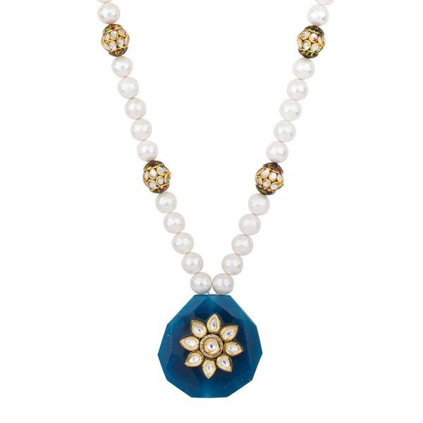 Bold Attraction in White and Blue Necklace