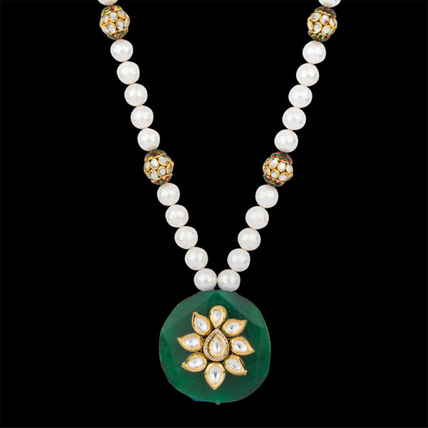 Bold Attraction in White and Green Necklace