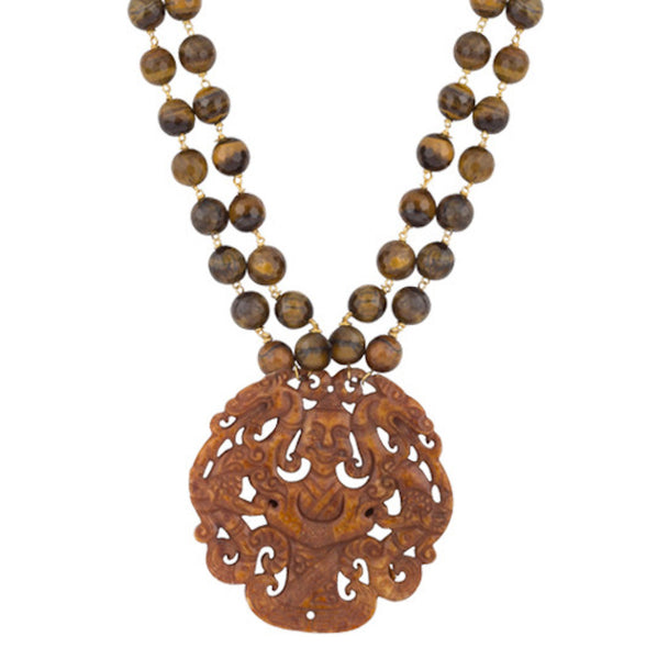 Breathtaking Tiger Eyes and Brown Agate Necklace