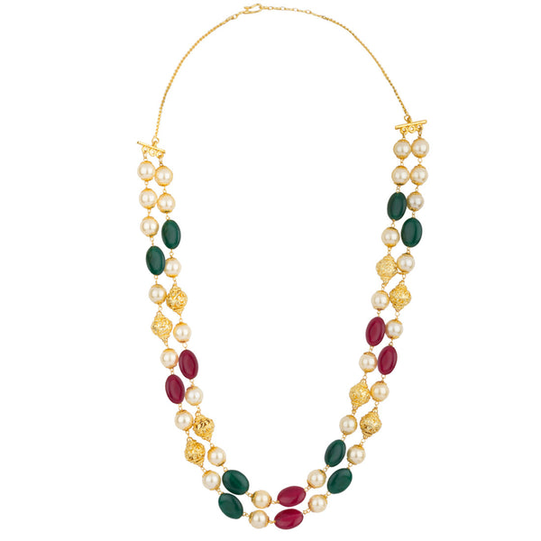 Multicolor Ethnic Alluring Pearl Gold Necklace