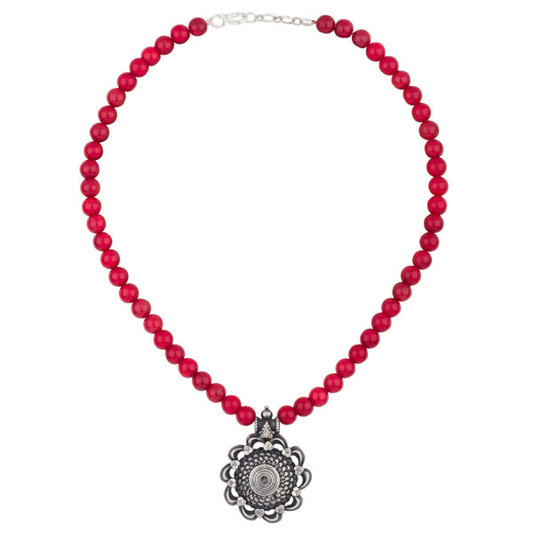 Red Coral Silver Necklace