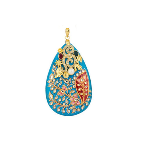 Turquoise Heavily hand-worked Stone Pendant