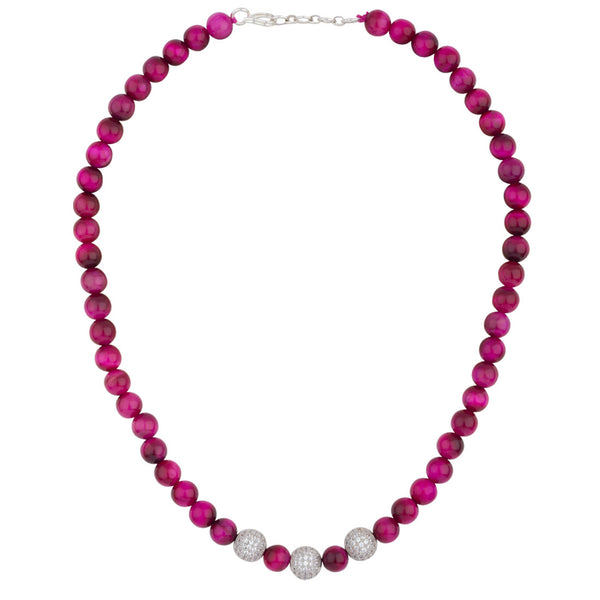 Magenta and Rosewood Shaded Beads Necklace