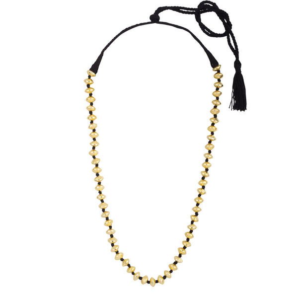 Gold Beads in Black Thread Necklace