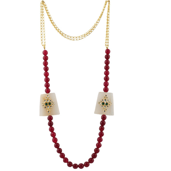 Maroon Beaded Chain Necklace