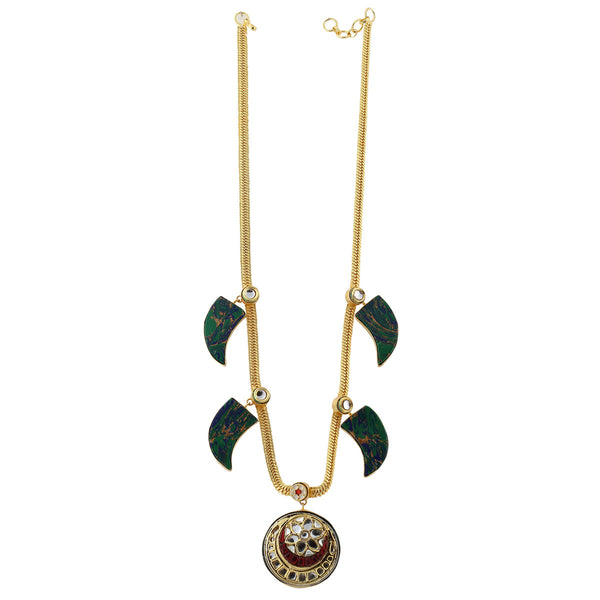 Kundan pendant with Semi precious stone Beads Chain Necklace