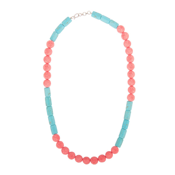 Coral Pink and Turquoise Gemstone Necklace