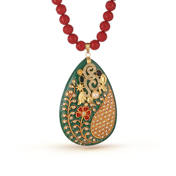 Cherry Red and Basil Green Big Pendant Necklace