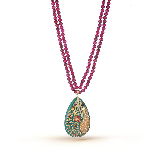 Magenta and Rosewood Shaded Beads with Heavily handworked Pendant Necklace