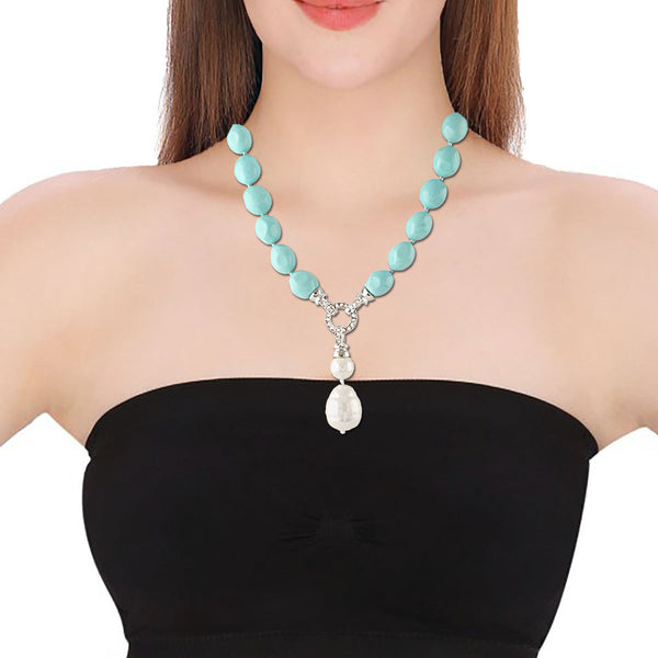 Elegant Electric Blue Pearl pendant Necklace