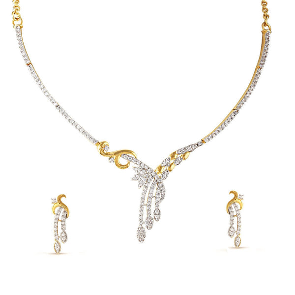 Crystal Intricated Floral Glide Necklace Set