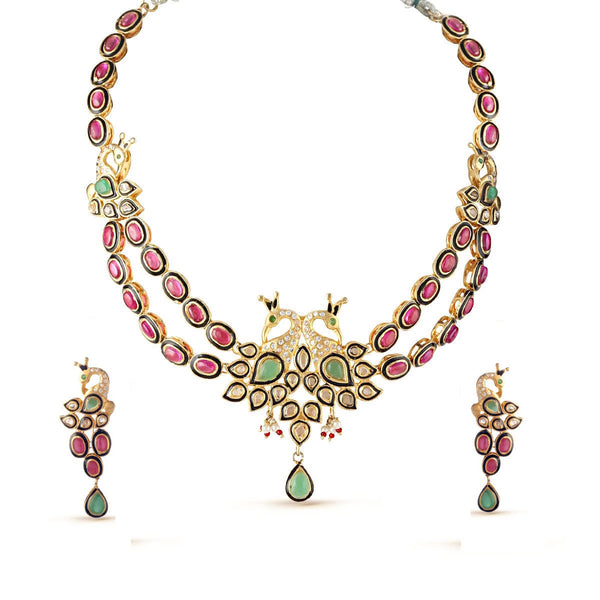 Ruby Pink and Emerald Green Gemstone Peacock Choker Necklace Set