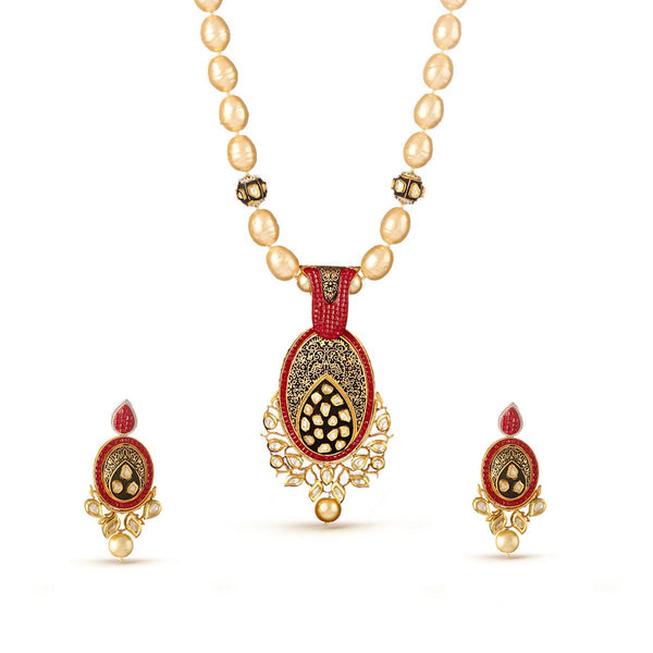 Enchanting Pearl Showers in Regal Kundan Pendant Drop Necklace Set