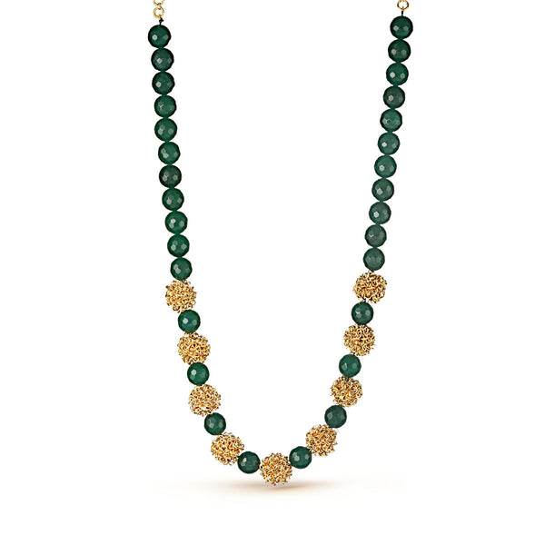 Green Gemstone and Gold Pedestal Beaded Necklace
