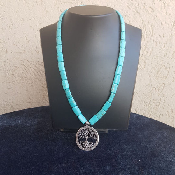 Blue Firoza in Silver Pendant Necklace