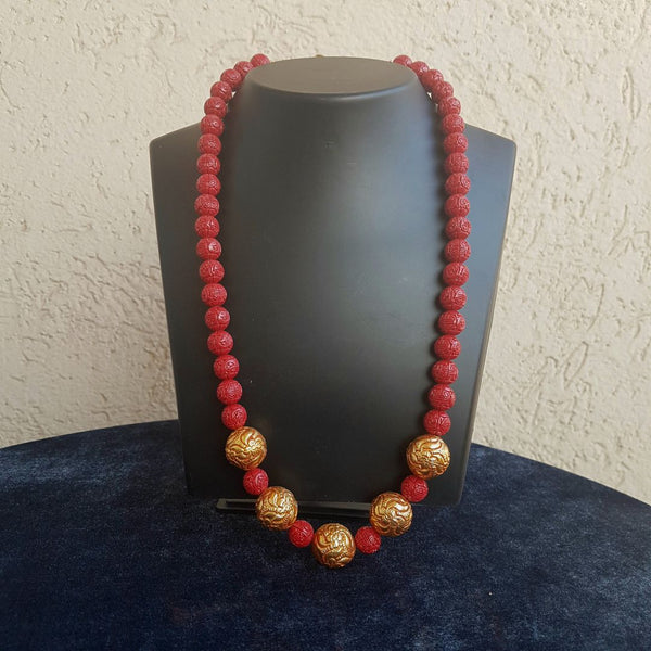 Red and Gold Geru Beaded Pedestal Necklace