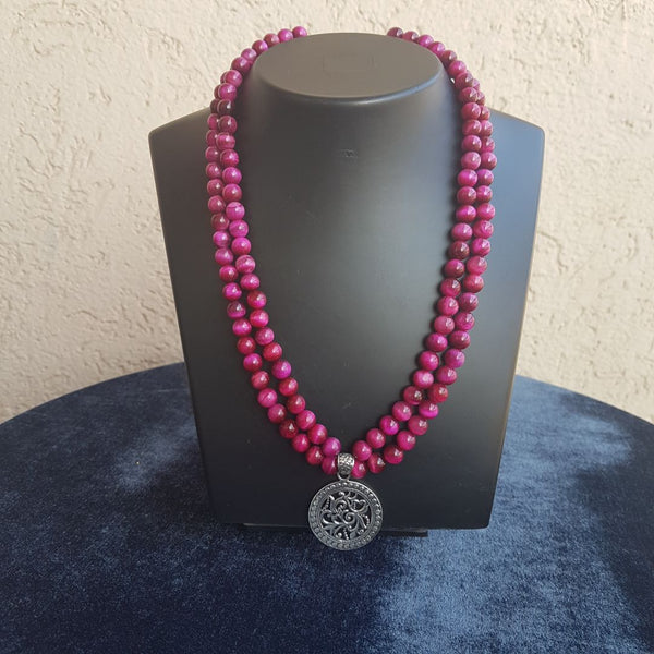 Two Stranded Magenta and Rosewood Pink Gemstone Beaded Silver Pendant Necklace