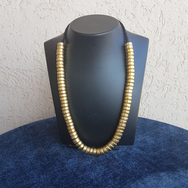 Single Stranded Golden Disc Necklace
