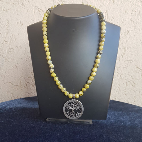 Silver Tree in Yellow Serpentine Shaded Necklace