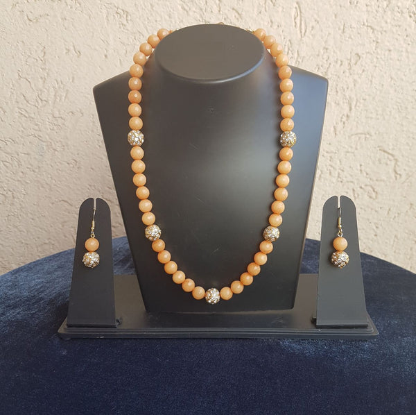 Single Stranded Peach and Gold Gemstone Beaded Necklace Set