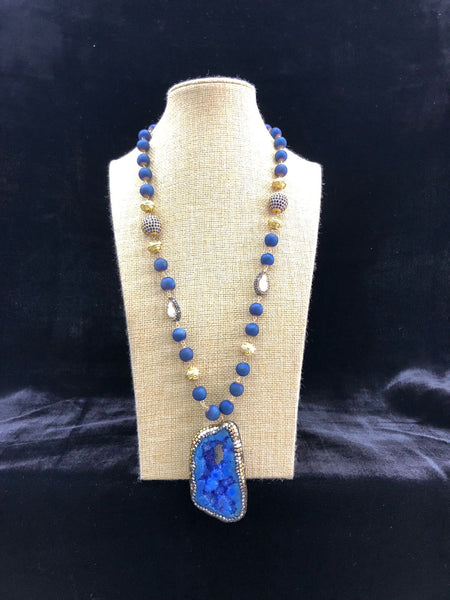 Blue and Yellow Gemstone Beaded Agate Pendant Necklace