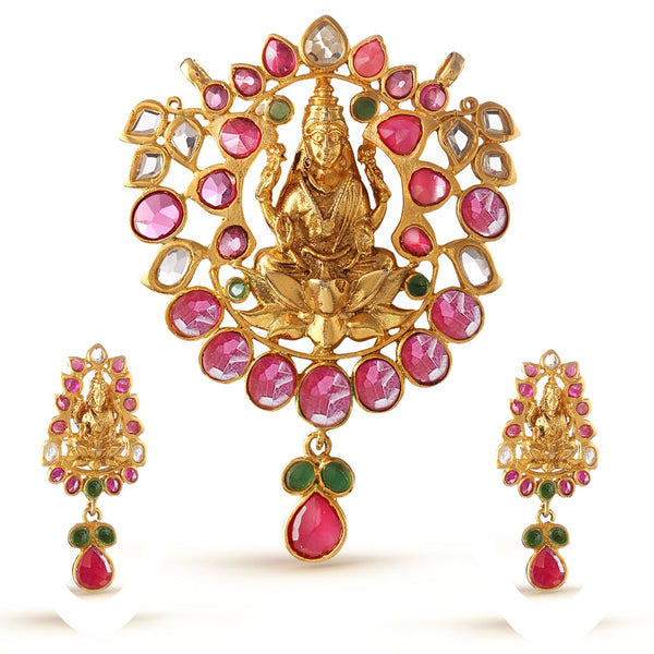 Ruby Pink and Emerald Green Laxmi Pendant Set