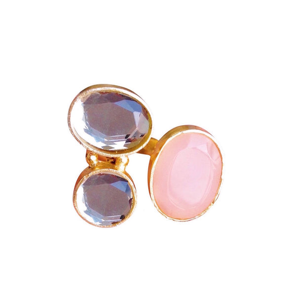 Gold Finish Pink Ring