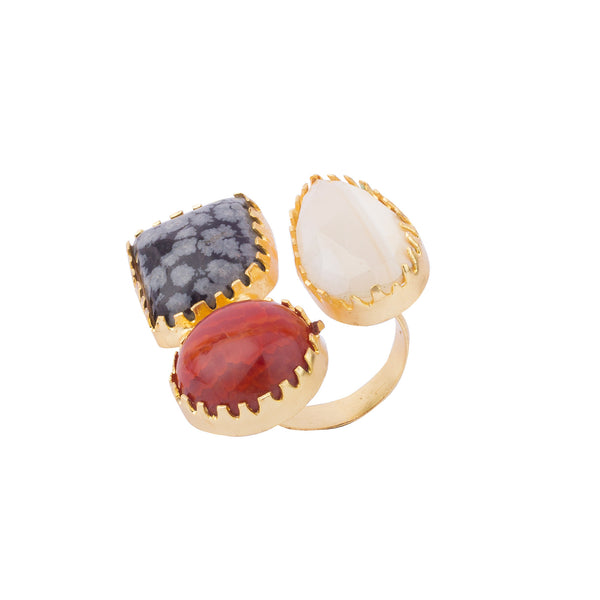 Tri-colour Stone Geometric Ring