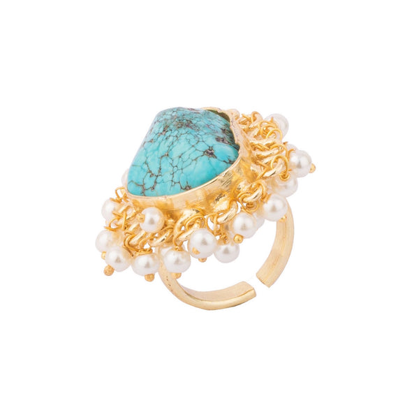 Turquoise Rock Golden Ring