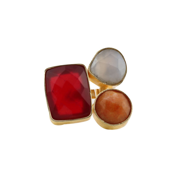 Red Orange and Grey Natural Stone Ring