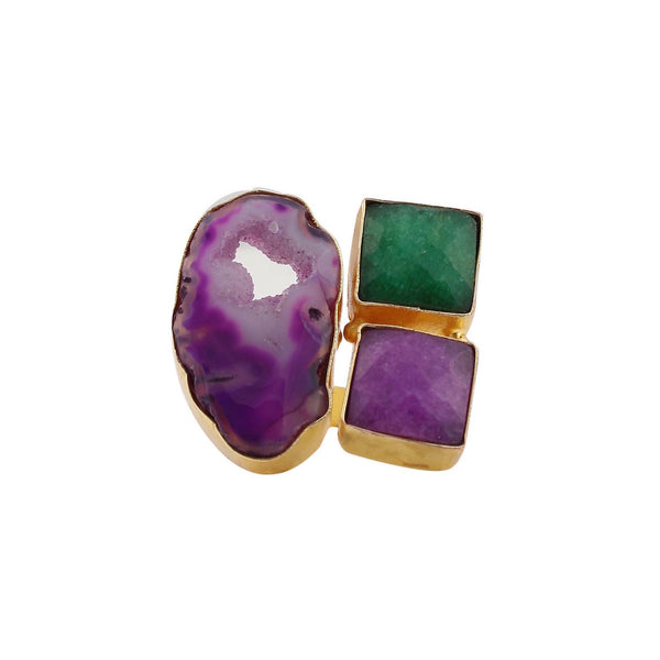 Purple Agate and Green Onyx Ring