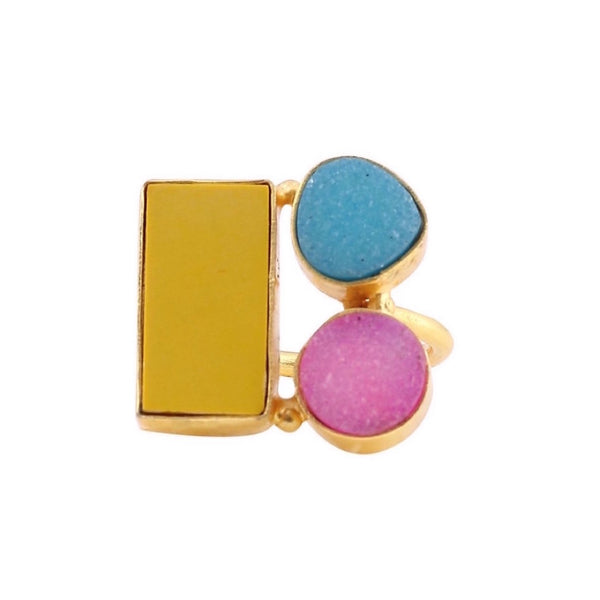 Sweet Pink Yellow and Blue Candy Colors Ring