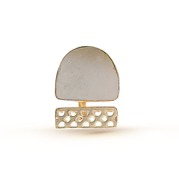 White and Gold Gemstone Ring