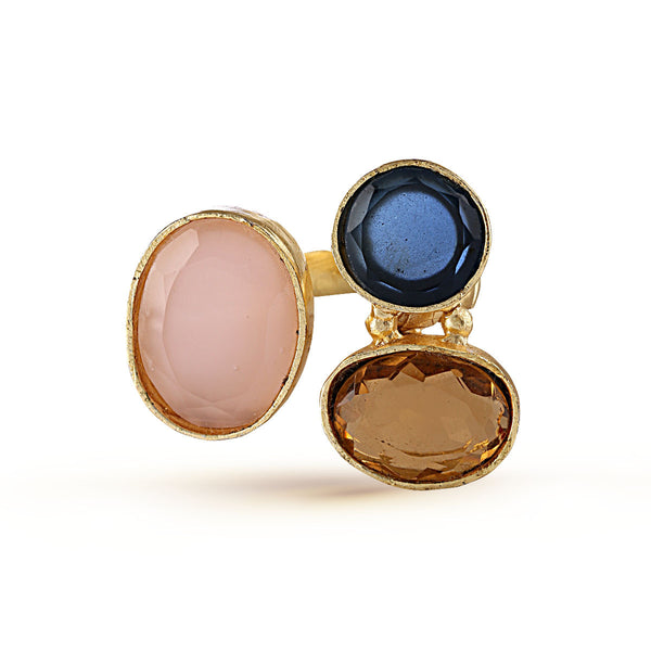 Prussian Blue Tawny Brown Pink Semiprecious Stack Ring