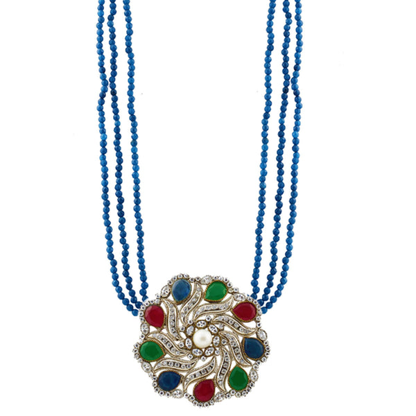 Multi-color silver tone pendant with blue beads Necklace
