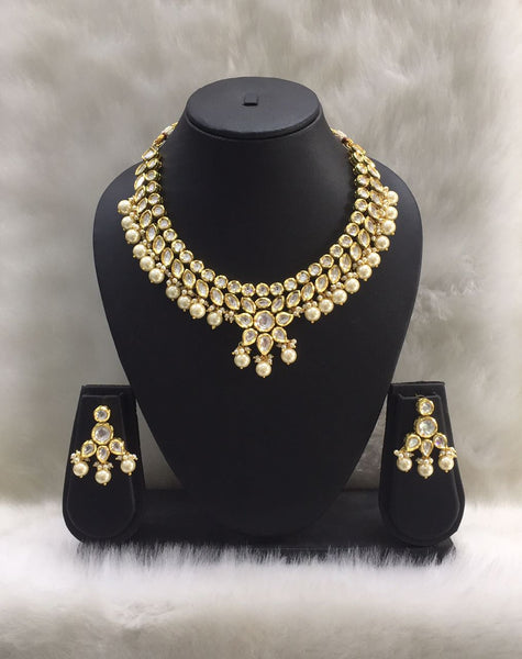 Kundan Tripartite Pedestal Drop Choker Necklace Set