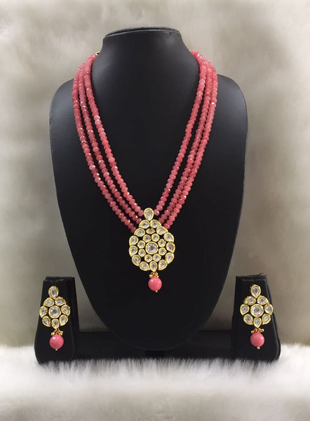 Three Stranded pink kundan Pendant necklace set