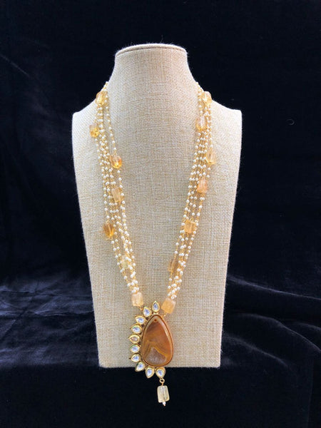 Multi Stranded Pearl Chain Linked Kundan Semi Encrusted Pendant Drop Necklace