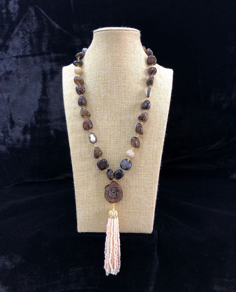 Variant Shades of Brown in Pendant Tassel Necklace